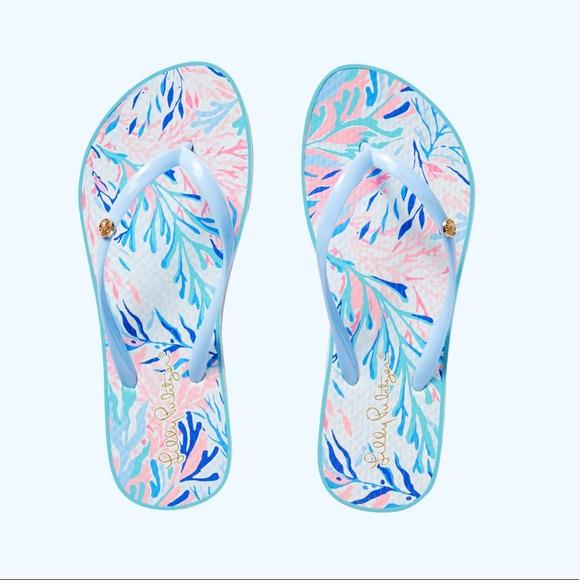 722ddab46b4e33 Lilly Pulitzer Shoes | Pool Flip Flop Crew Blue Tint | Poshmark